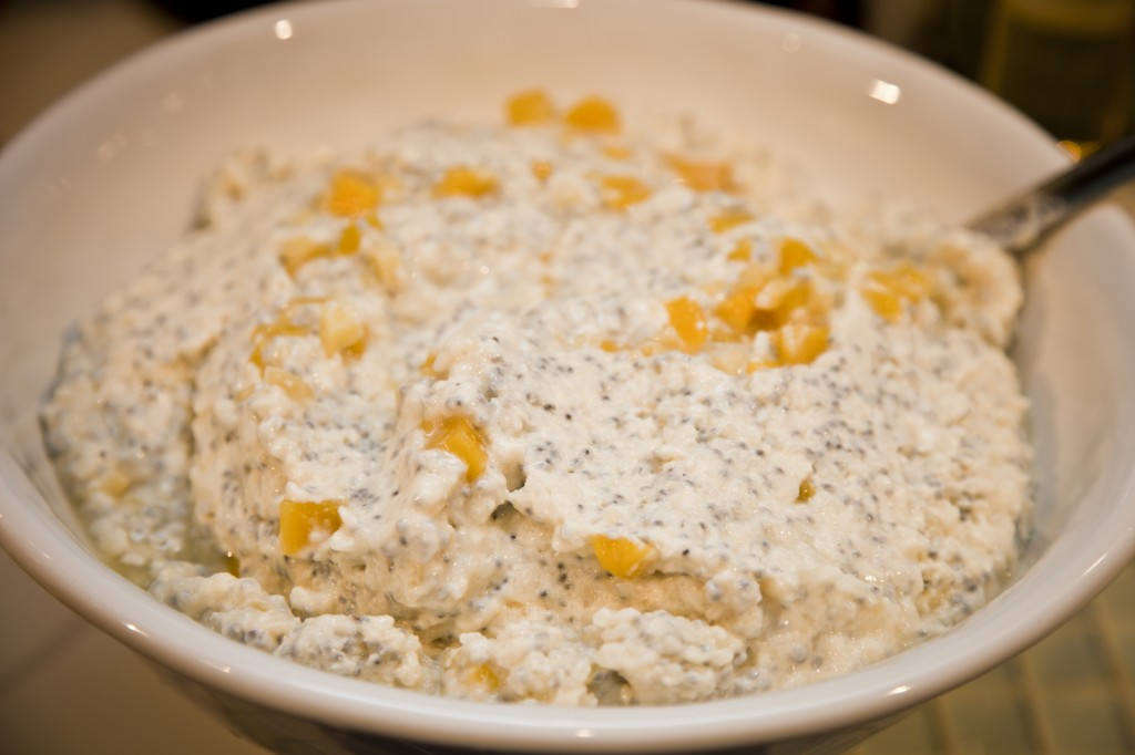 Rina Oh's Basil Seed and Poha Rice Pudding with Candied Ginger and Mango.