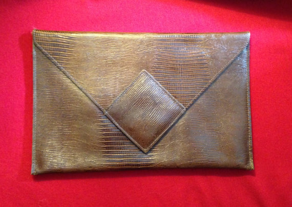 Gael Greene's Vintage Art Deco Embossed Leather Clutch Bag