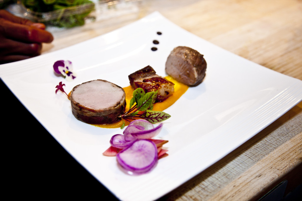 Rosy Tomorrows Heritage Farm Red Wattle Pig Trio > Miso Belly with Radish d'Avignon, Mint Marigold–Tenderloin Saltimbocca, and Confit Shoulder with Butternut Squash