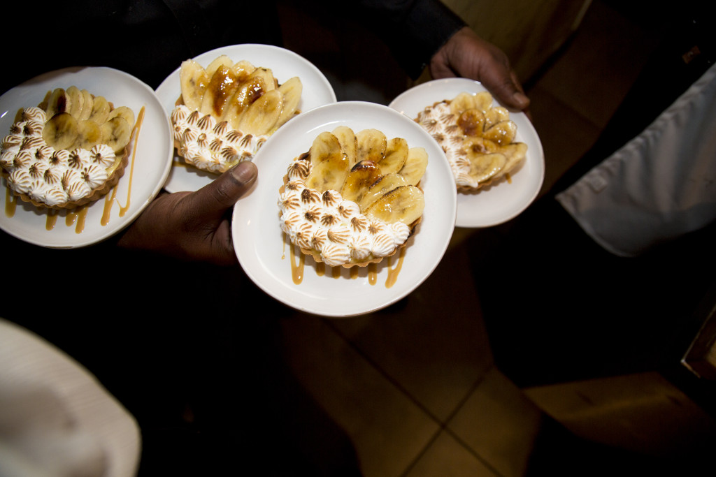 Banana Cream Pie with Vanilla Wafer Crust, Malibu Dulce de Leche, Pastry Cream, Toasted Meringue, and Bananas