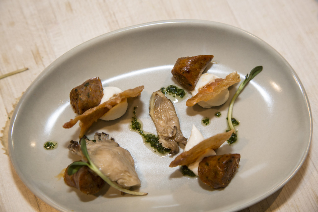 Chicken and Mushrooms > Chicken Sausage with Crispy Chicken Chips, Local Oyster Mushrooms, Housemade Ricotta, Salsa Verde, and Fennel Fronds