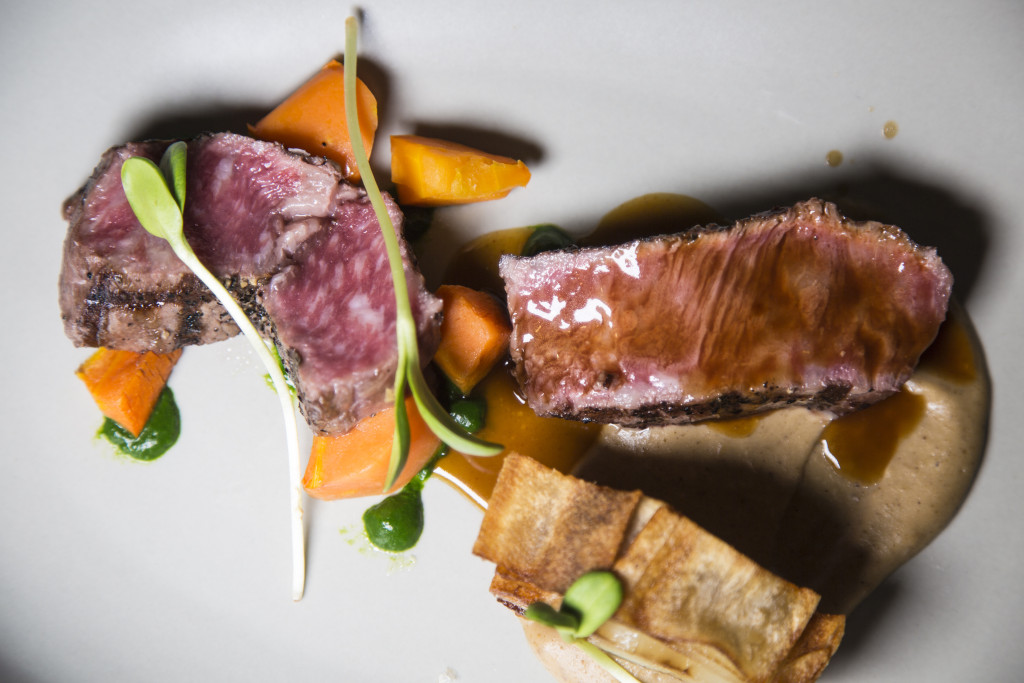 Joseph Decuis Wagyu Beef Rib-Eye with Sunchoke–Chestnut Purée, Potato Confit, Farm Carrots, Spinach Purée, and Demi-Glace